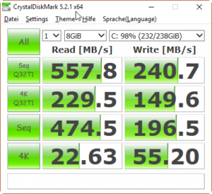 Crucial MX100 256GB CrystalDiskMark