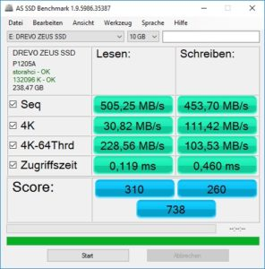 DREVO SSD Zeus AS SSD Benchmark