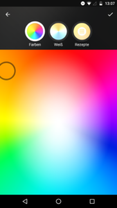 Philips Hue App Farbauswahl