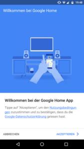 Google Home App Willkommensbildschirm