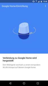 Google Home App Verbindungsaufbau