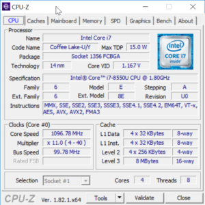 Dell Inspiron 13 7000 CPU-Z
